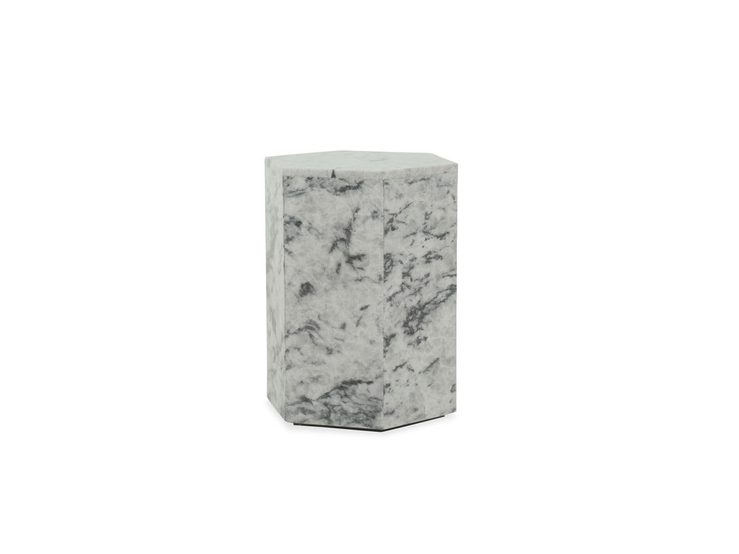 contemporary geometric accent table gray mathis brothers furniture hook gry blue ceramic this style constructed from blend fiberglass and tro marble for lasting durability the