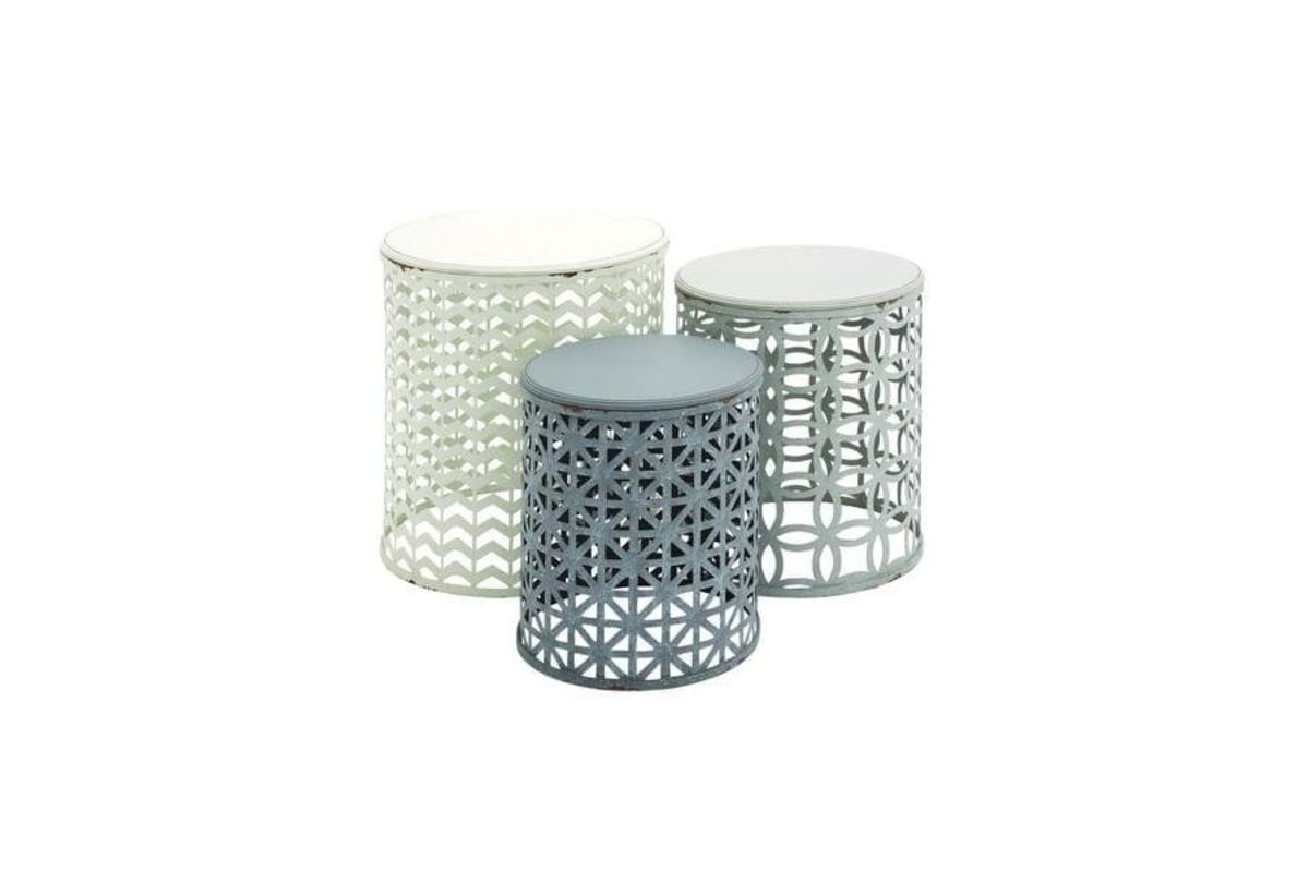 contemporary geometric barrel accent tables multicolor set from gardner white top table decorations bathroom tub looking for lamps kirklands wall art quality long runners mosaic