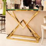 contemporary gold glass console table juliettes interiors accent coast julia hall iron and patio swing mango wood end living room furniture coffee tables small metal trestle 150x150