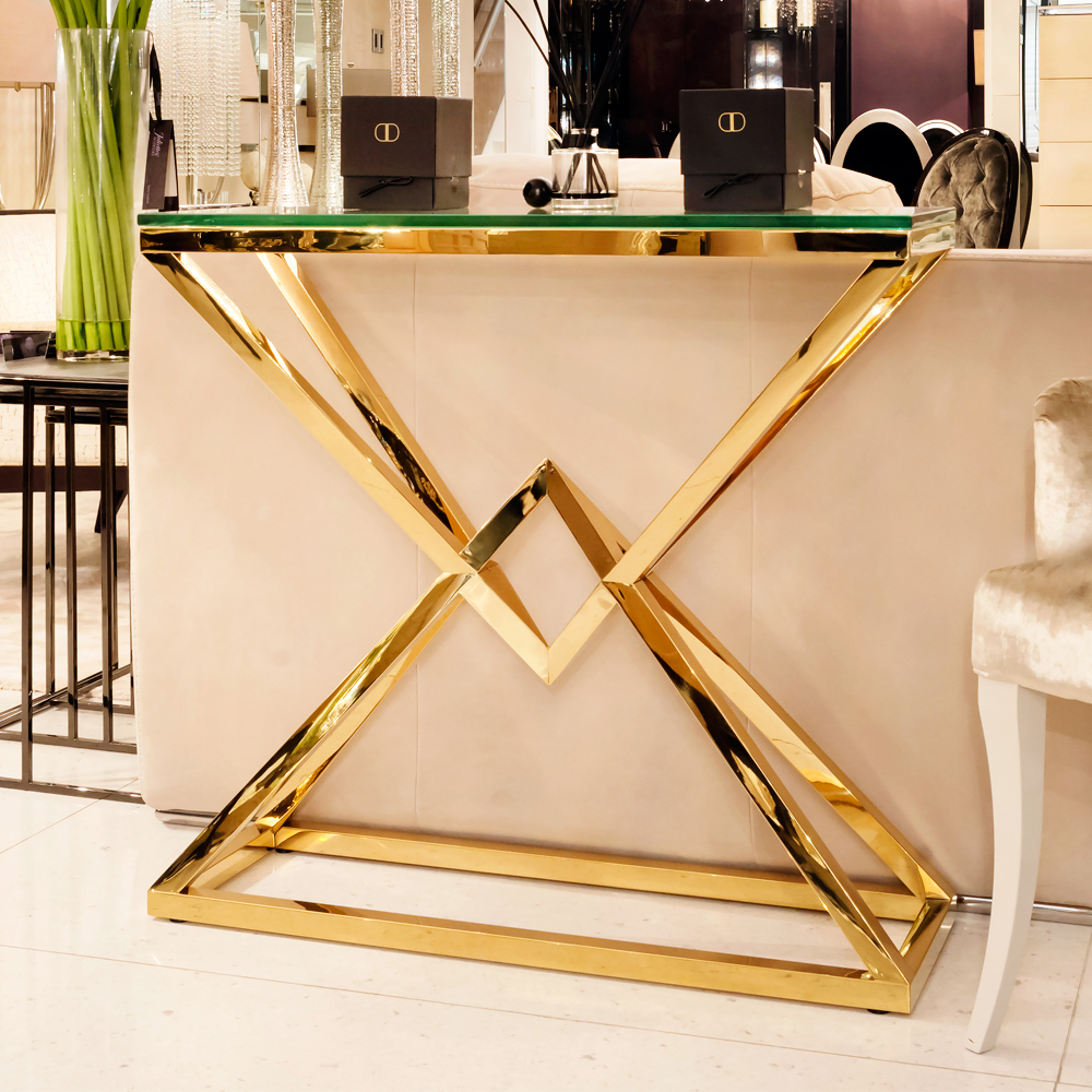 contemporary gold glass console table juliettes interiors accent coast julia hall iron and patio swing mango wood end living room furniture coffee tables small metal trestle