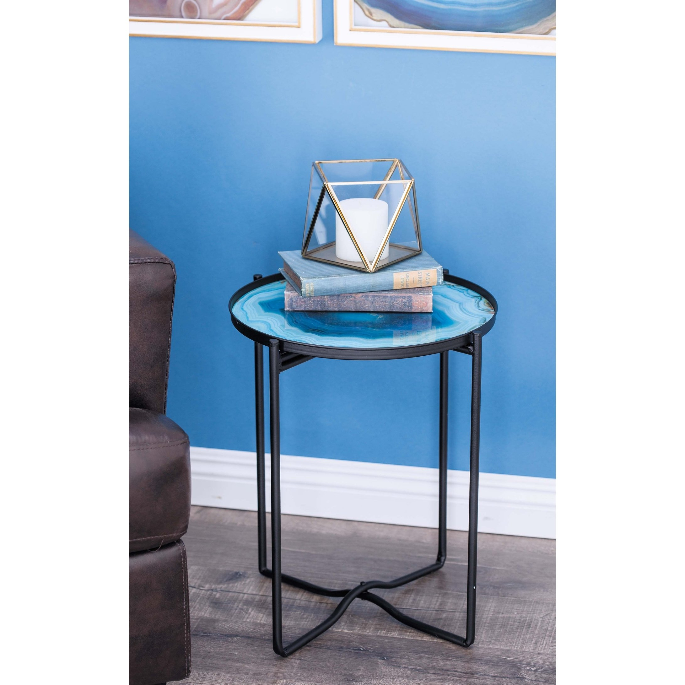 contemporary inch round blue glass accent table studio metal free shipping today kitchen dining room tables computer target homepop light wood end carpet tile edging strip