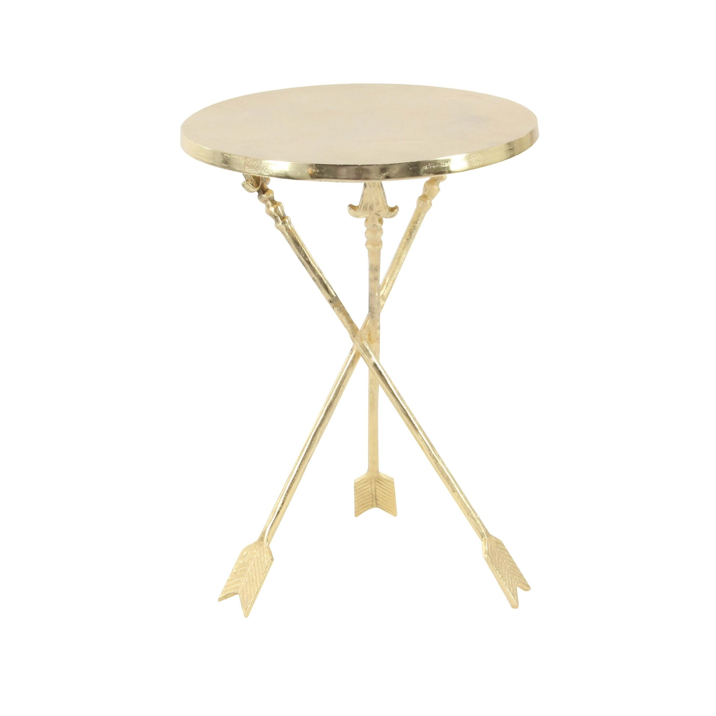 contemporary inch round gold aluminum accent table studio free shipping today grill utensils glass coffee vintage metal legs ikea garden storage extra wide console transparent