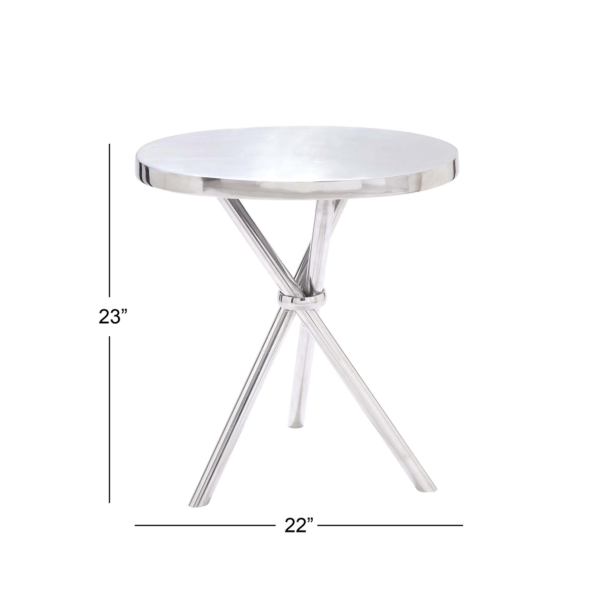 contemporary inch round silver aluminum accent table studio free shipping today high end lamps for living room small pedestal side west elm box frame dining covers bedside tables