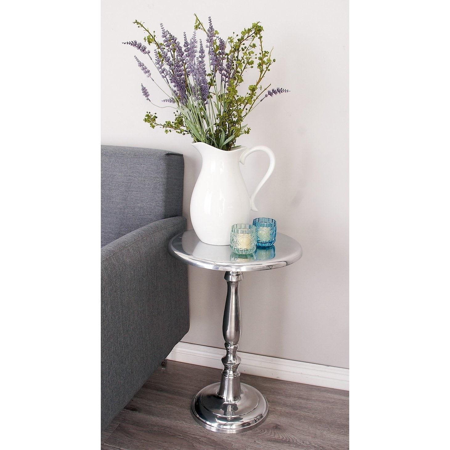 contemporary inch silver metal pedestal accent table studio free shipping today pottery barn lorraine dining chairs glass top patio end tables small chrome vacuum lucite acrylic