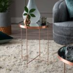contemporary living copper finish glass metal round end accent tables room table plant stand side furniture kitchen dining folding hairpin legs pottery barn tabletop with 150x150