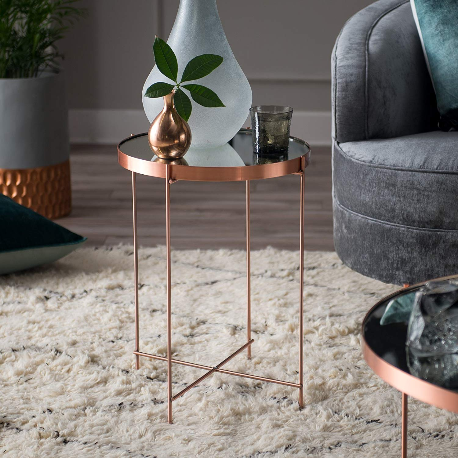 contemporary living copper finish glass metal round end accent tables table plant stand side room furniture kitchen dining sofa set root long legs percussion stool west elm