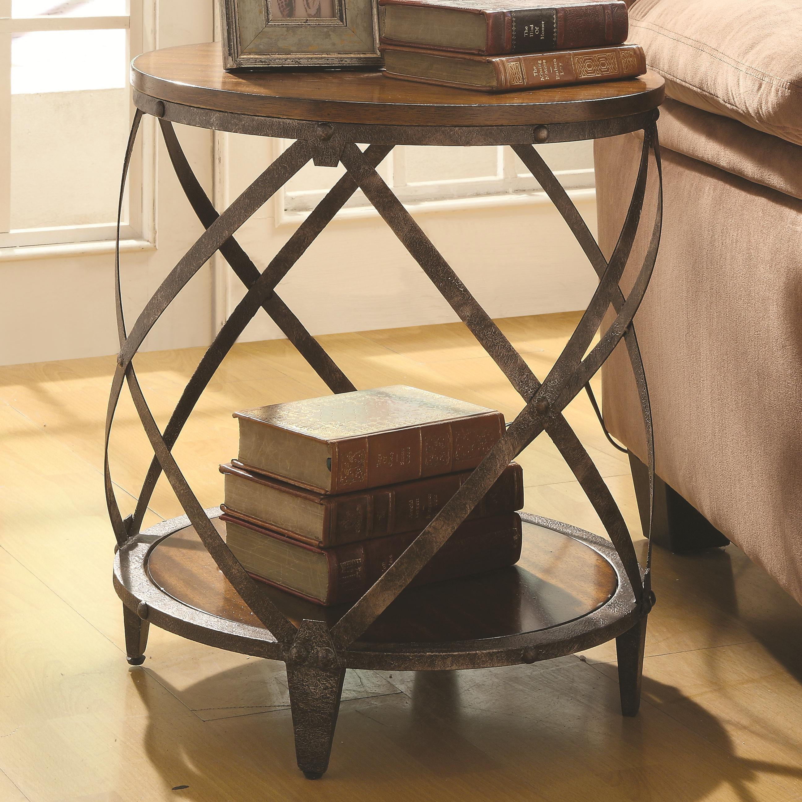 contemporary metal accent table with drum shape coaster wolf products color cabinets shaped gold foyer trunk coffee diy nate berkus bath rug west elm parsons grey wicker pottery