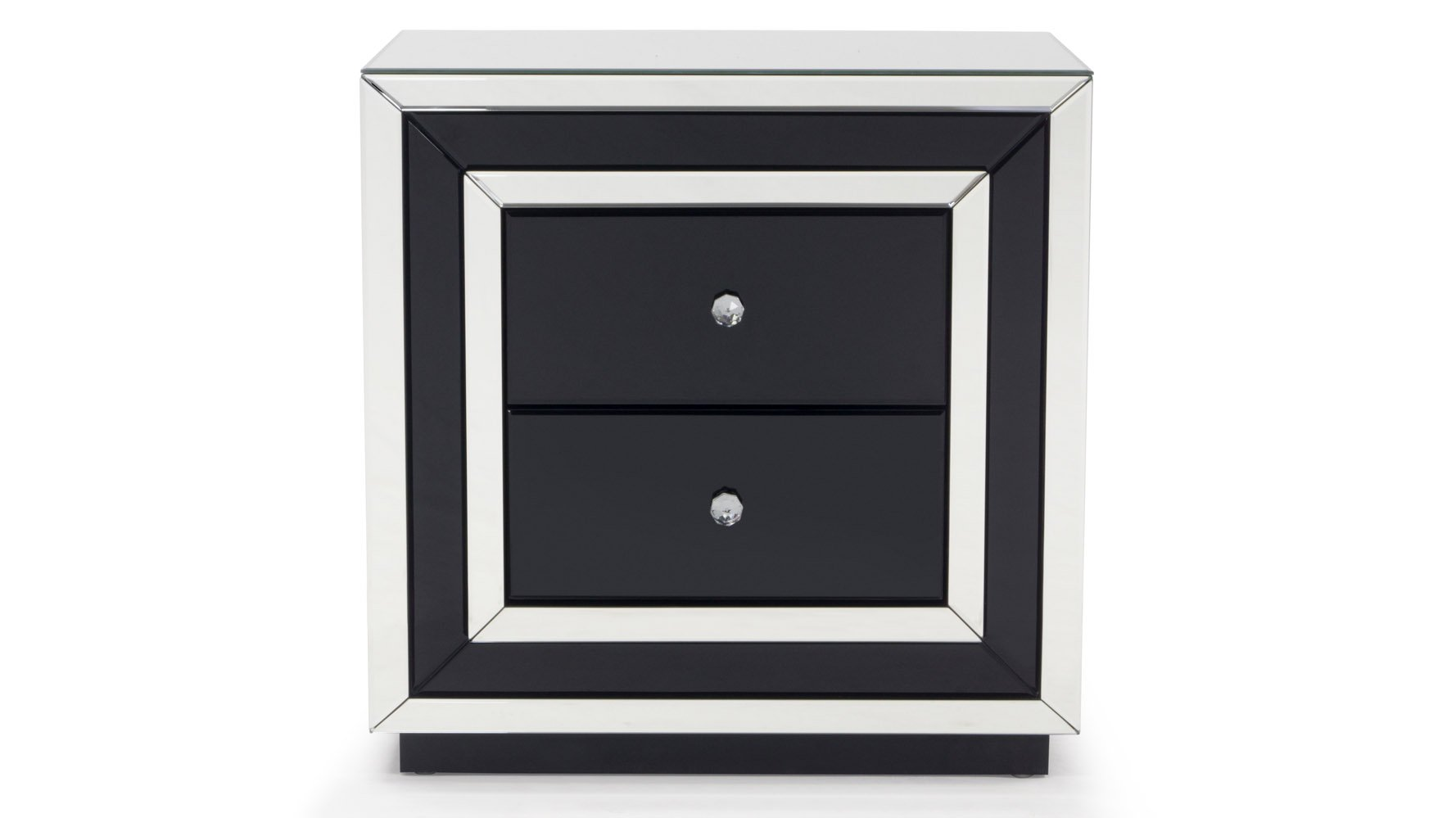 contemporary mirrored drawer night stand zuri furniture three drawered black modern accent table chest free shipping stanley rectangle counter height mid century classic coffee