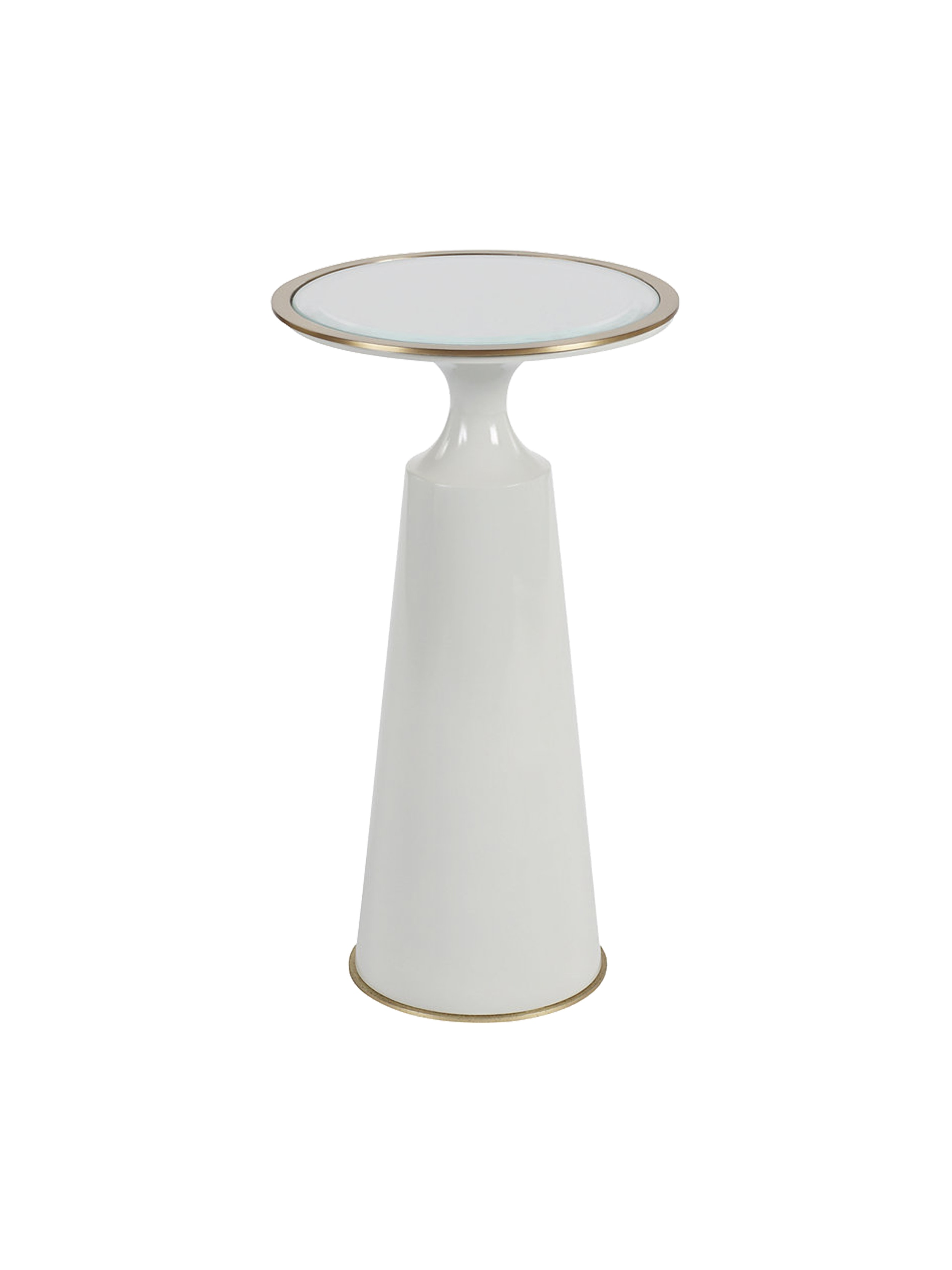 contemporary round accent table with bronze trim putnam mason furniture tables side end glass metal pedestal industrial transitional dering hall theater room modern chairs mirror