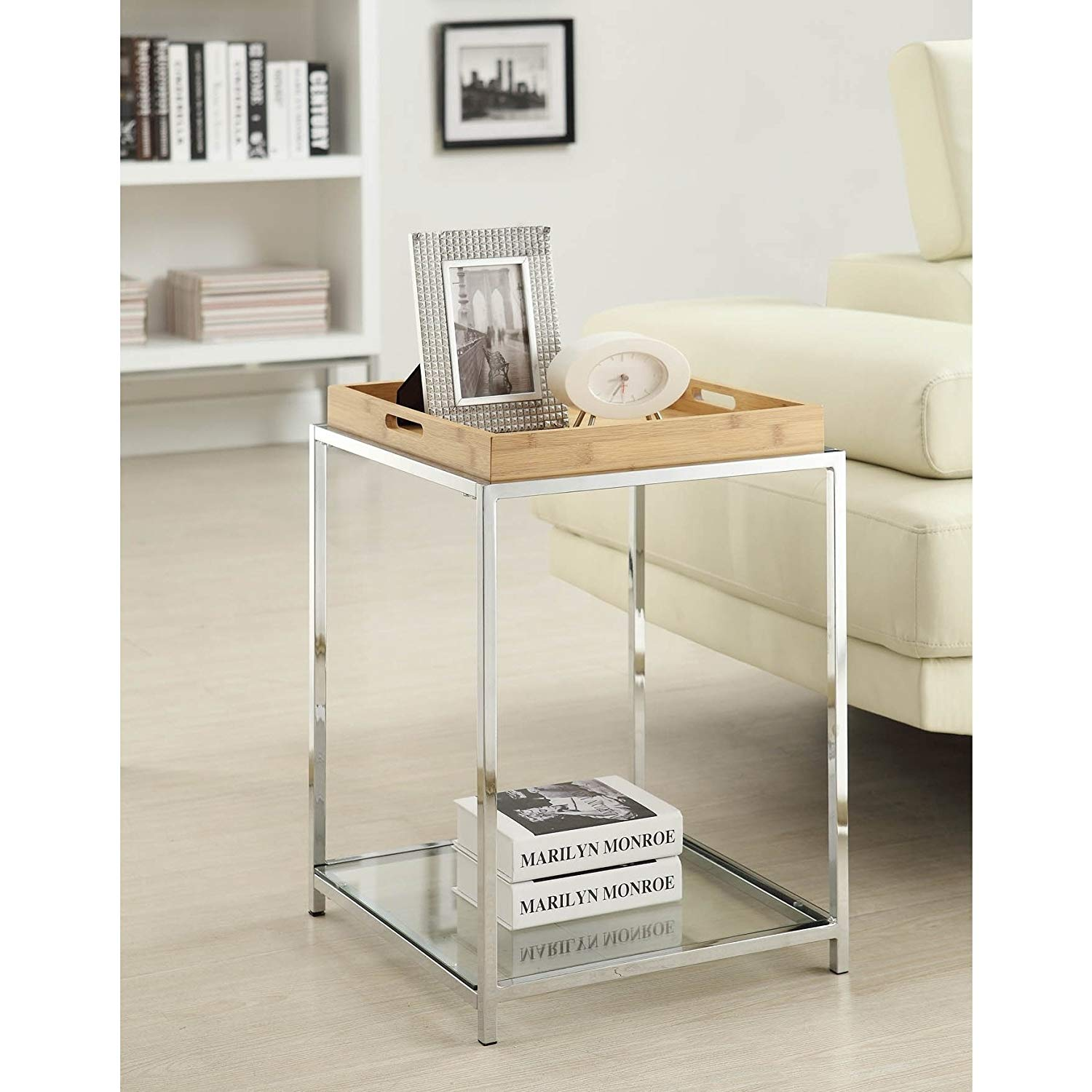 contemporary square end table glass top with removable winsome wood cassie accent cappuccino finish tray and shelf includes modhaus living pen brown kitchen dining sasha round
