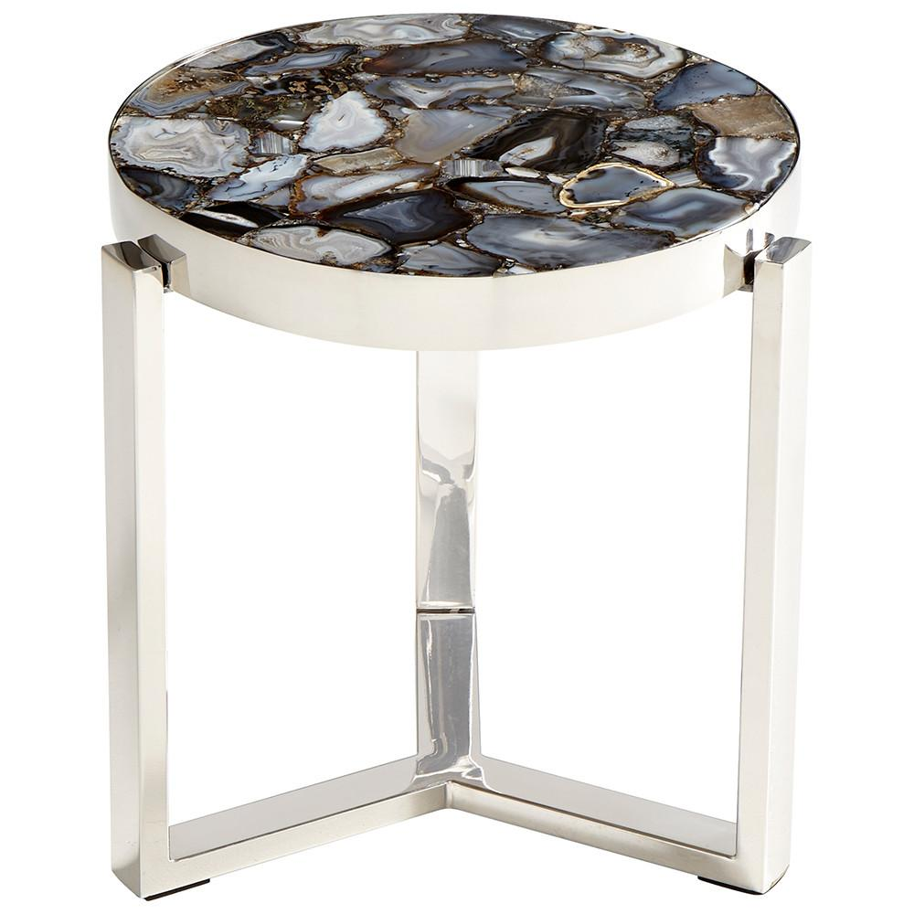 contemporary stone and nickel agate side table glass accent clearance furniture victorian living room chairs for small spaces top walnut coffee metal bedroom tables round leick