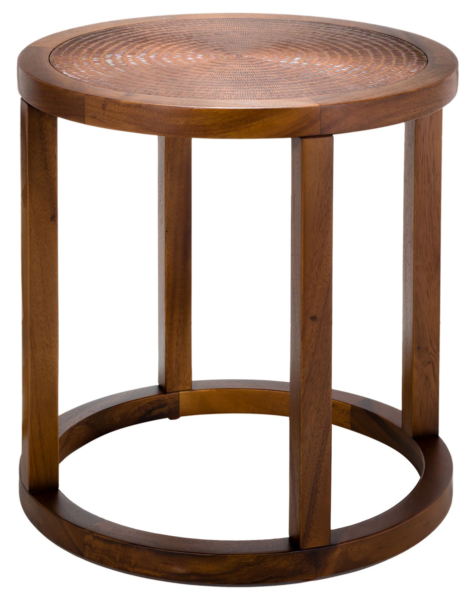 contemporary wood copper round accent table safavieh thin drum how met your mother umbrella hammered side small narrow end coffee ideas paper tablecloths gold leaf white bedroom