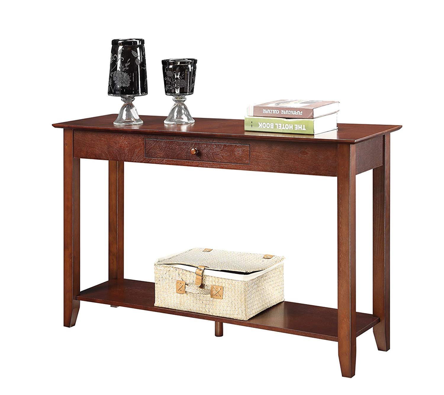 convenience concepts american heritage console table storage accent black room essentials with drawer and shelf espresso kitchen dining iron mouse wired outside box factory direct