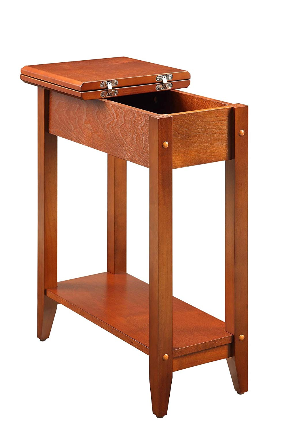 convenience concepts american heritage flip top end cherry corner accent table home kitchen rustic pedestal small oak bedside dining with drawer and door round crystal side lamps