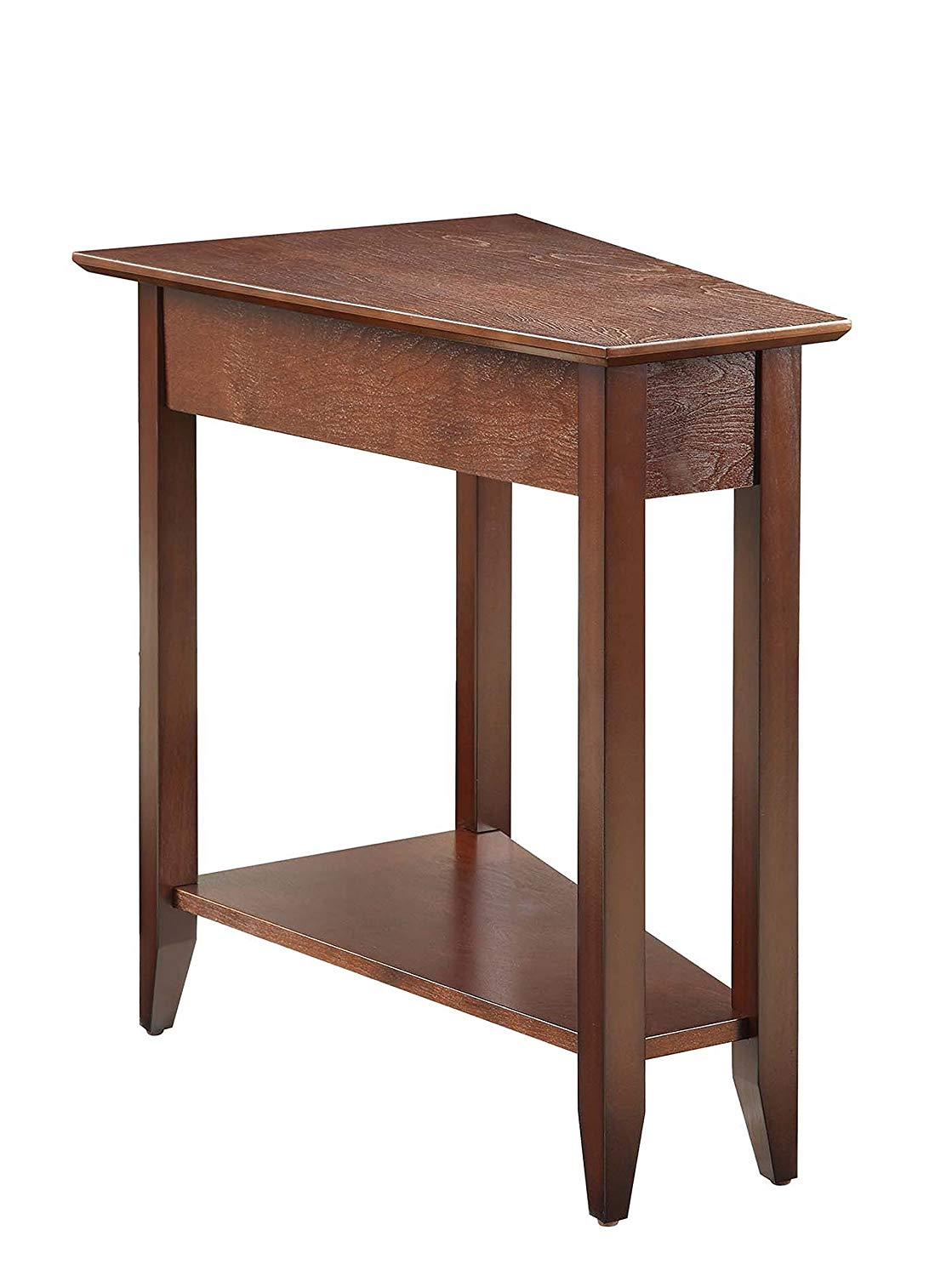 convenience concepts american heritage modern wedge end small rectangular accent table espresso kitchen dining teak patio pretty bedside tables wood and iron coffee sets white