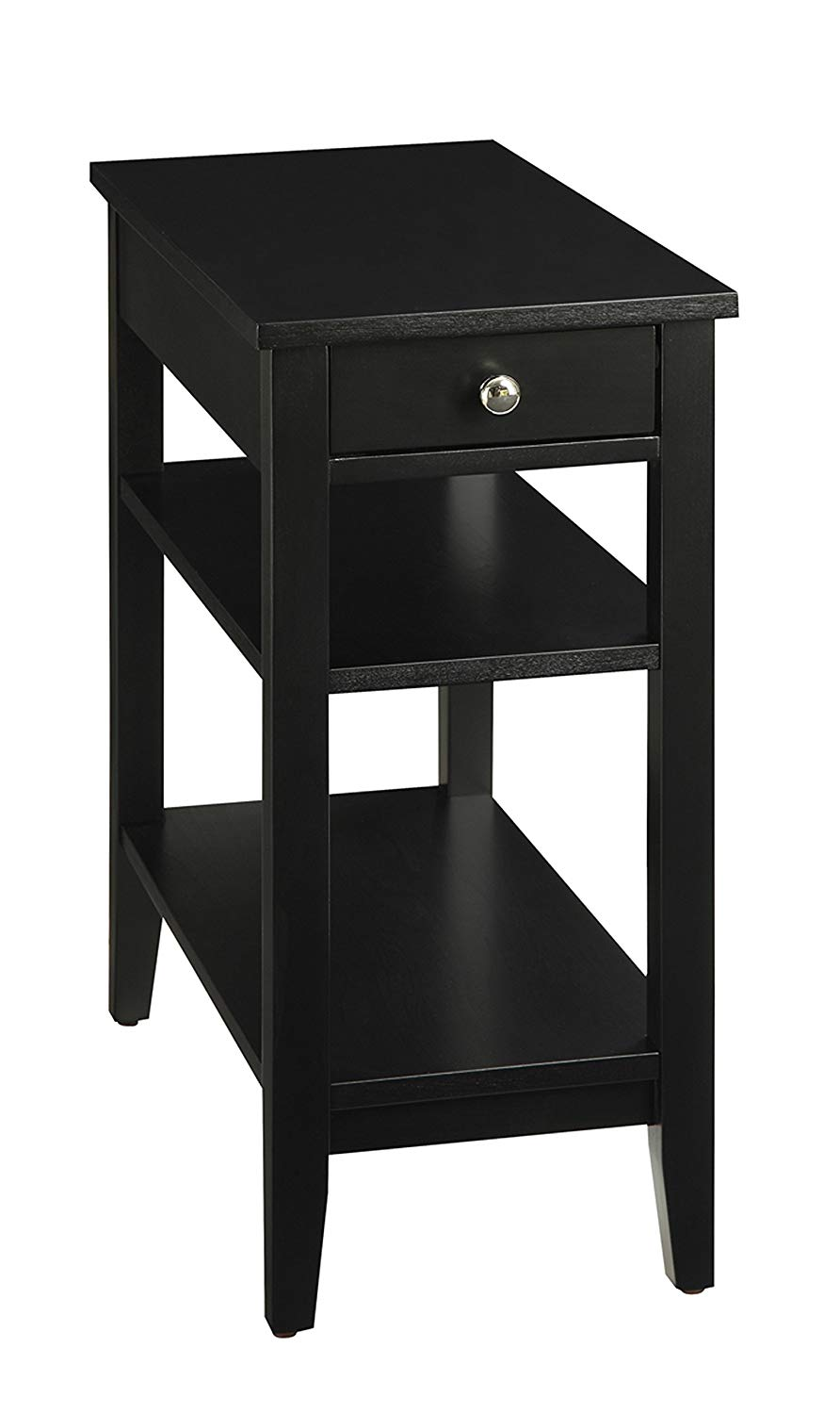 convenience concepts american heritage tier end table room essentials storage accent with drawer black kitchen dining vintage retro chairs wide side iron umbrella stand light