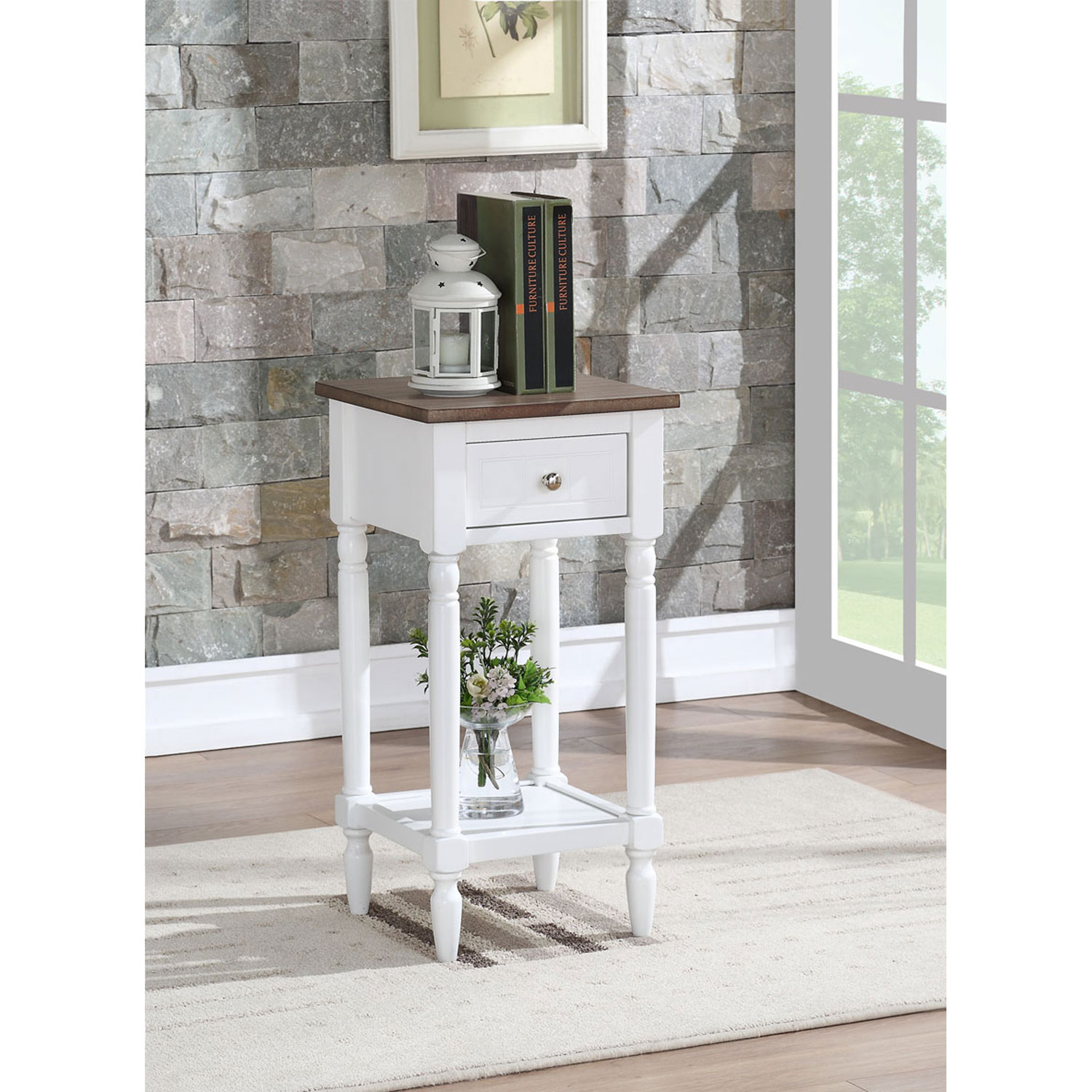 convenience concepts french country driftwood and white khloe accent table hover zoom tall patio chairs overarching lamp narrow black entrance ethan allen used furniture coastal