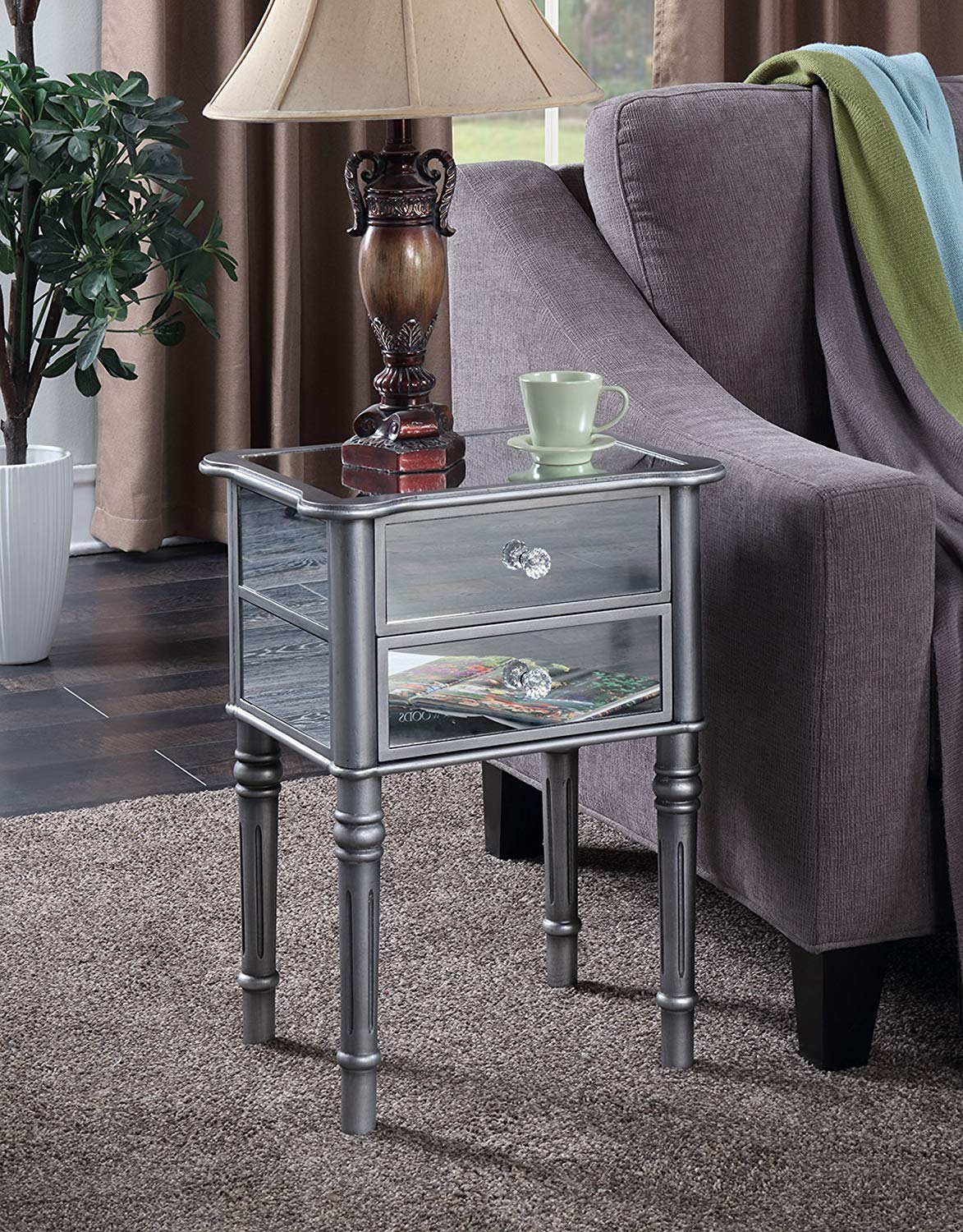 convenience concepts gold coast collection fair zebra accent table mirrored end silver kitchen dining storage cube coffee dinette sets white shelves target bedside lockers teal