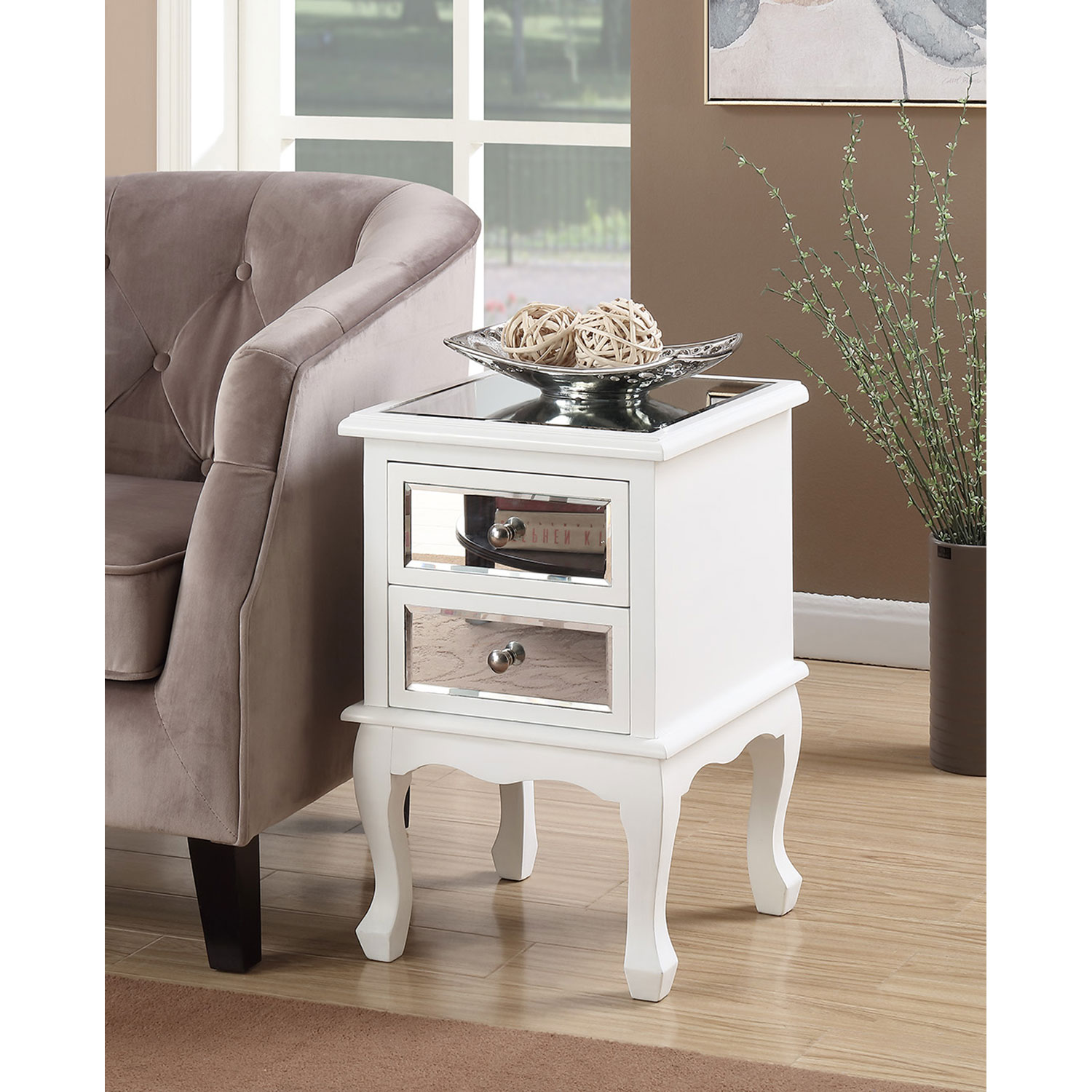 convenience concepts gold coast queen anne white mirror end table mirrored accent with drawer hover zoom mid century entry adjustable hairpin legs round oak dining carpet tile