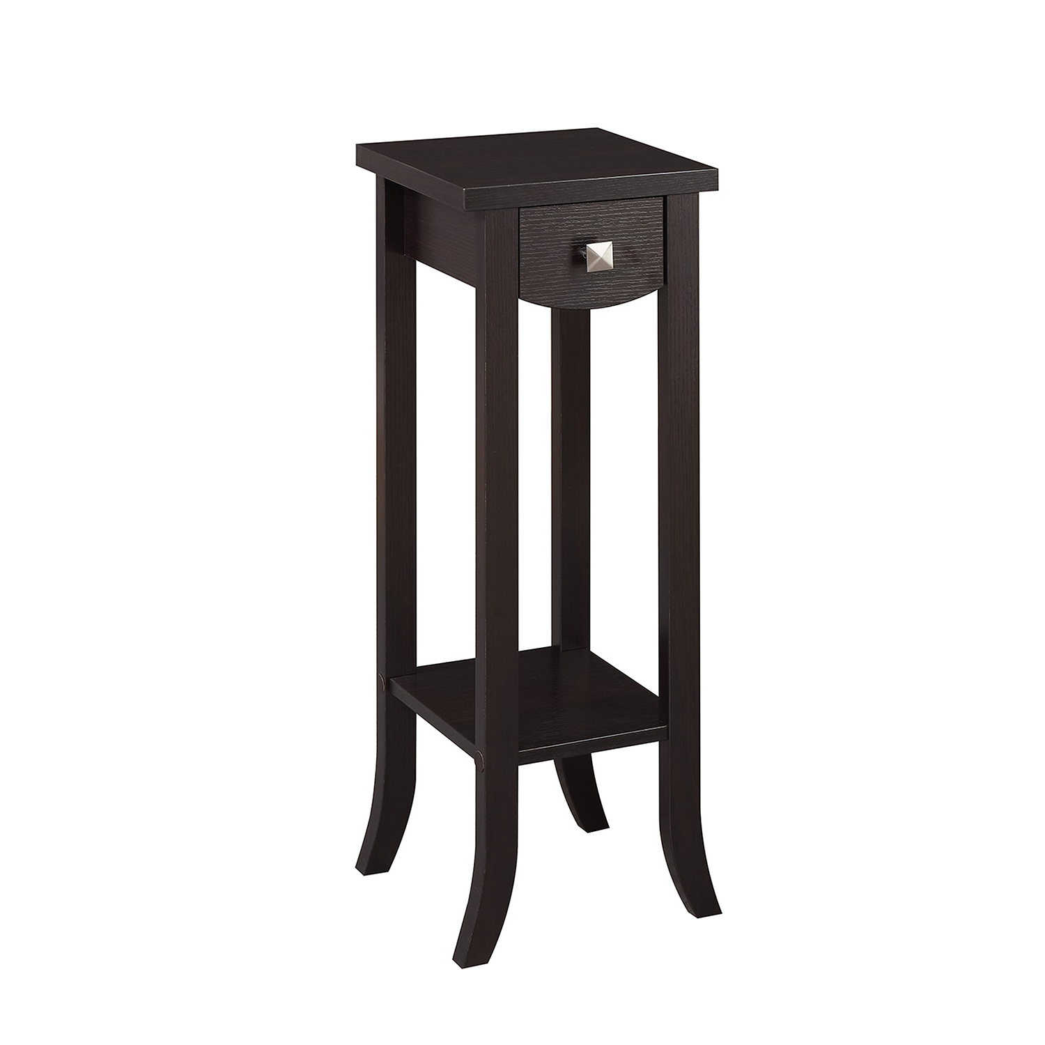 convenience concepts newport espresso prism tall plant stand pedestal accent table hover zoom thin bedside black half moon beachy end tables dale tiffany stained glass lamps