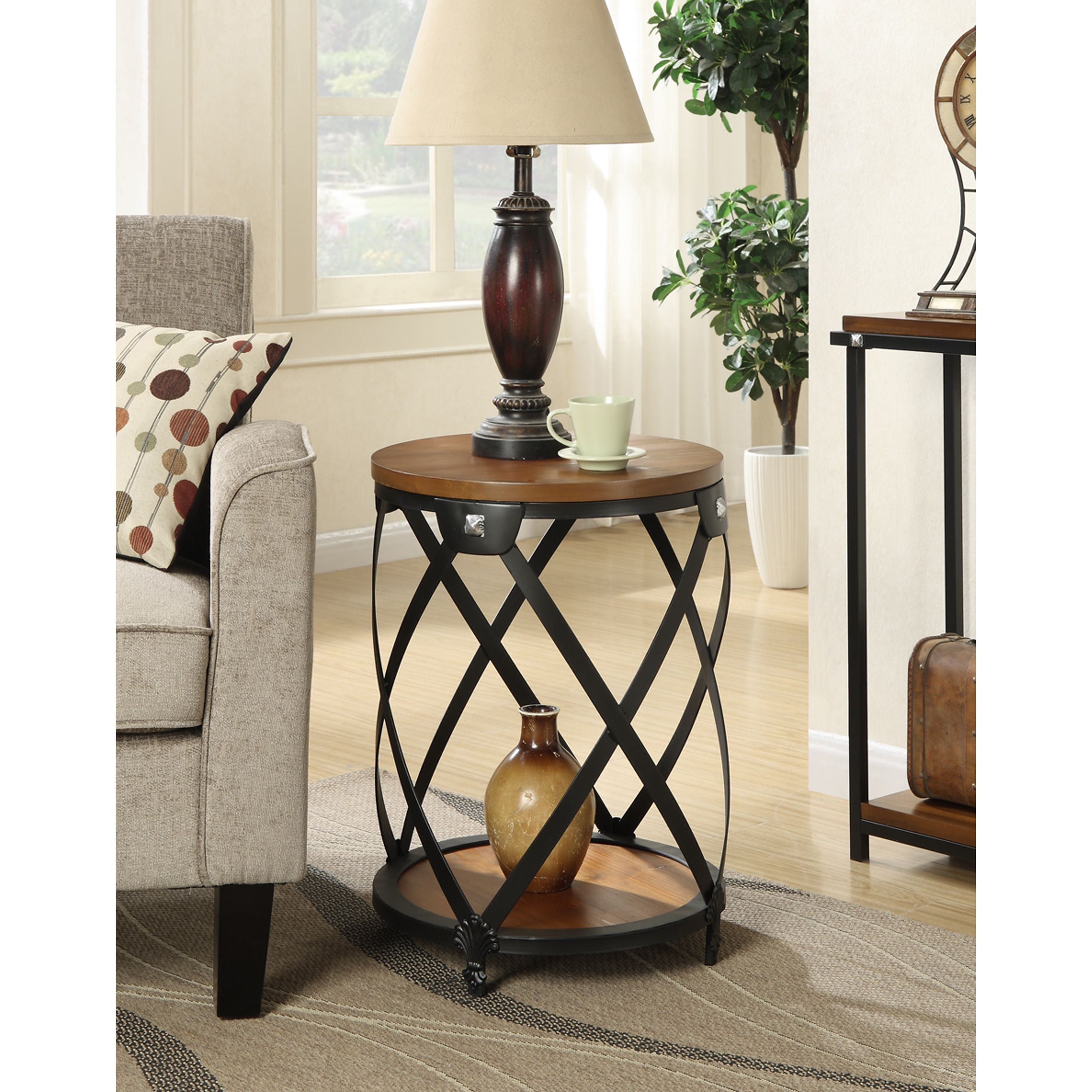 convenience concepts nordic black metal walnut wood round end table pinebrook accent dark super skinny pool lamps beach themed bathroom accessories small centerpiece ideas plus