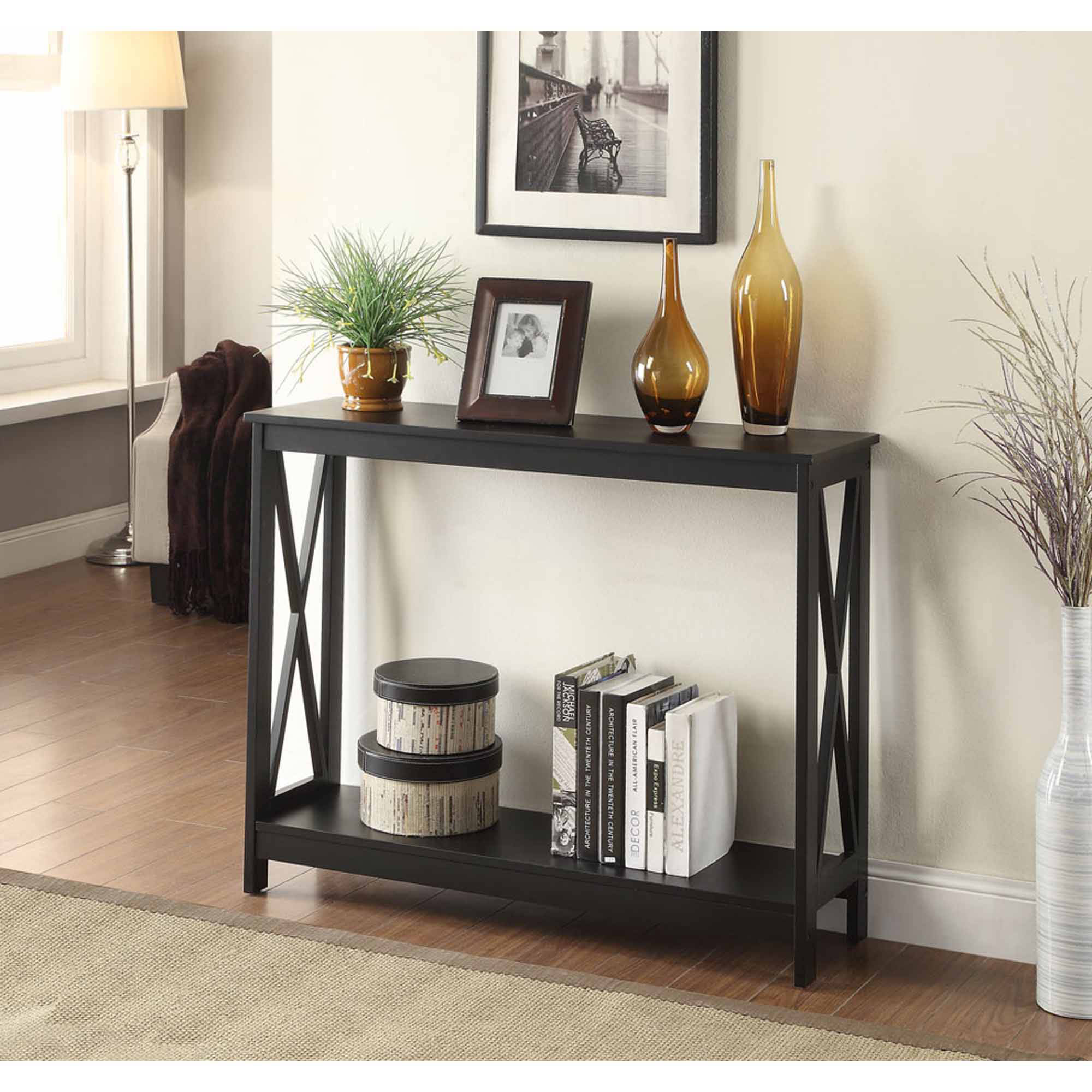 convenience concepts oxford console table multiple colors small half moon accent coastal dining room furniture destination lighting ikea oval glass and metal coffee black gallerie