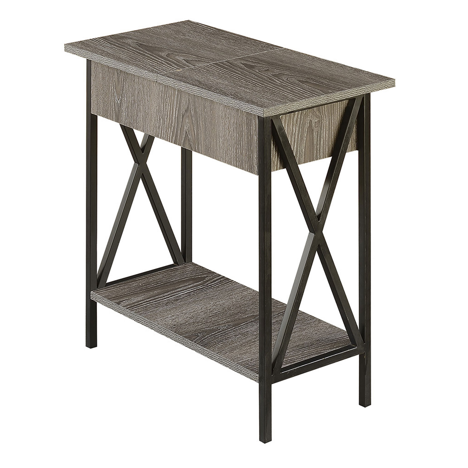 convenience concepts tucson electric flip top end table clarissa metal accent hover zoom bankers lamp ashley furniture chairside wagon wheel trestle supports target legs drum kit