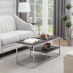 convenience concepts wilshire coffee table room essentials mixed material accent weathered gray chrome kitchen dining round gold legs wood teak rocking chairs raw side restaurant 150x150