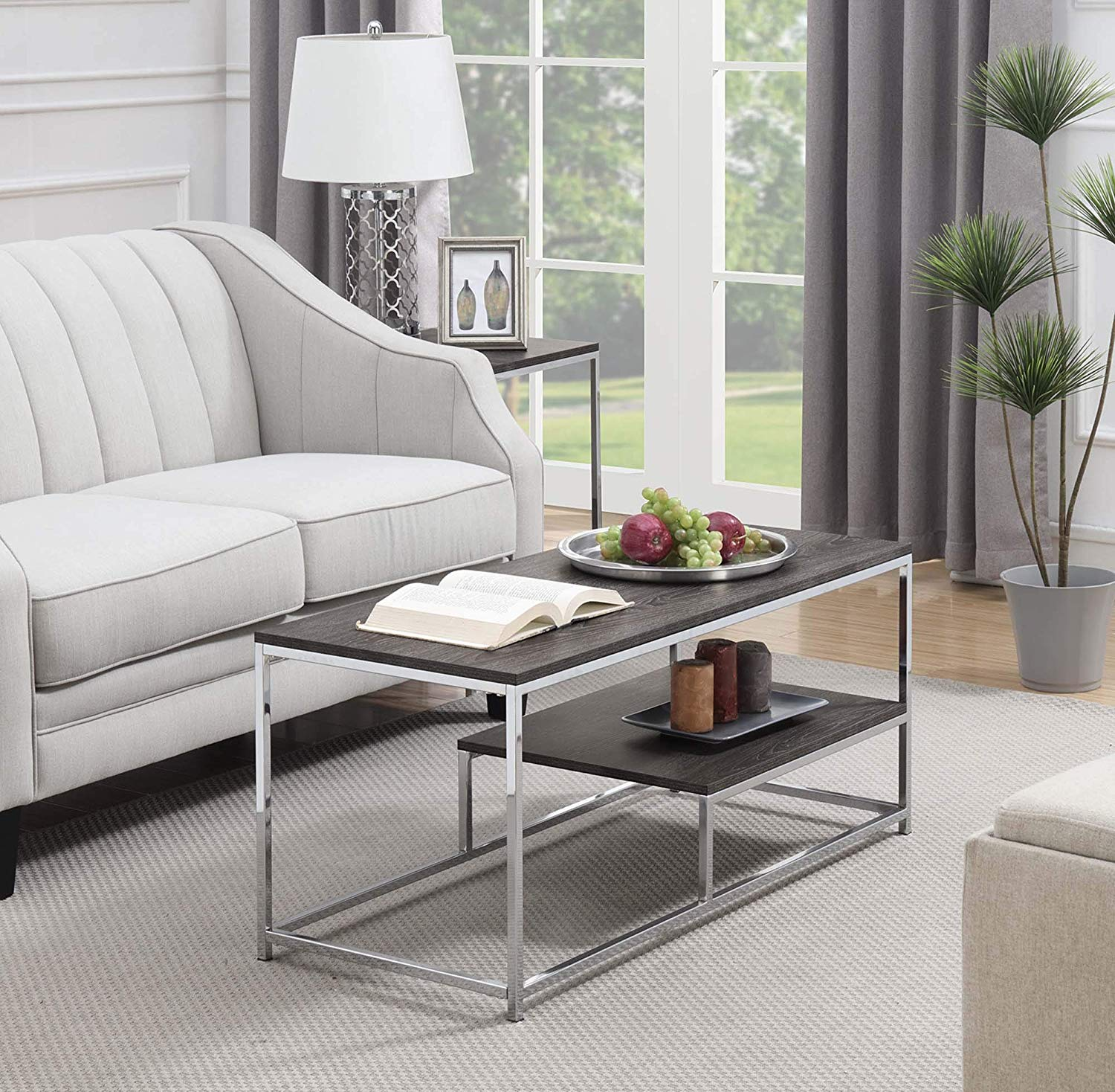 convenience concepts wilshire coffee table room essentials mixed material accent weathered gray chrome kitchen dining round gold legs wood teak rocking chairs raw side restaurant