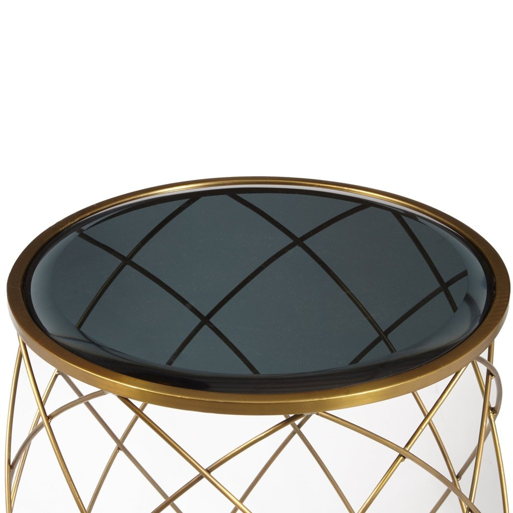 convex round brass metal accent table with smoked glass top side nautical chair large coffee pottery barn tables decor sears patio sets end unfinished furniture art deco living