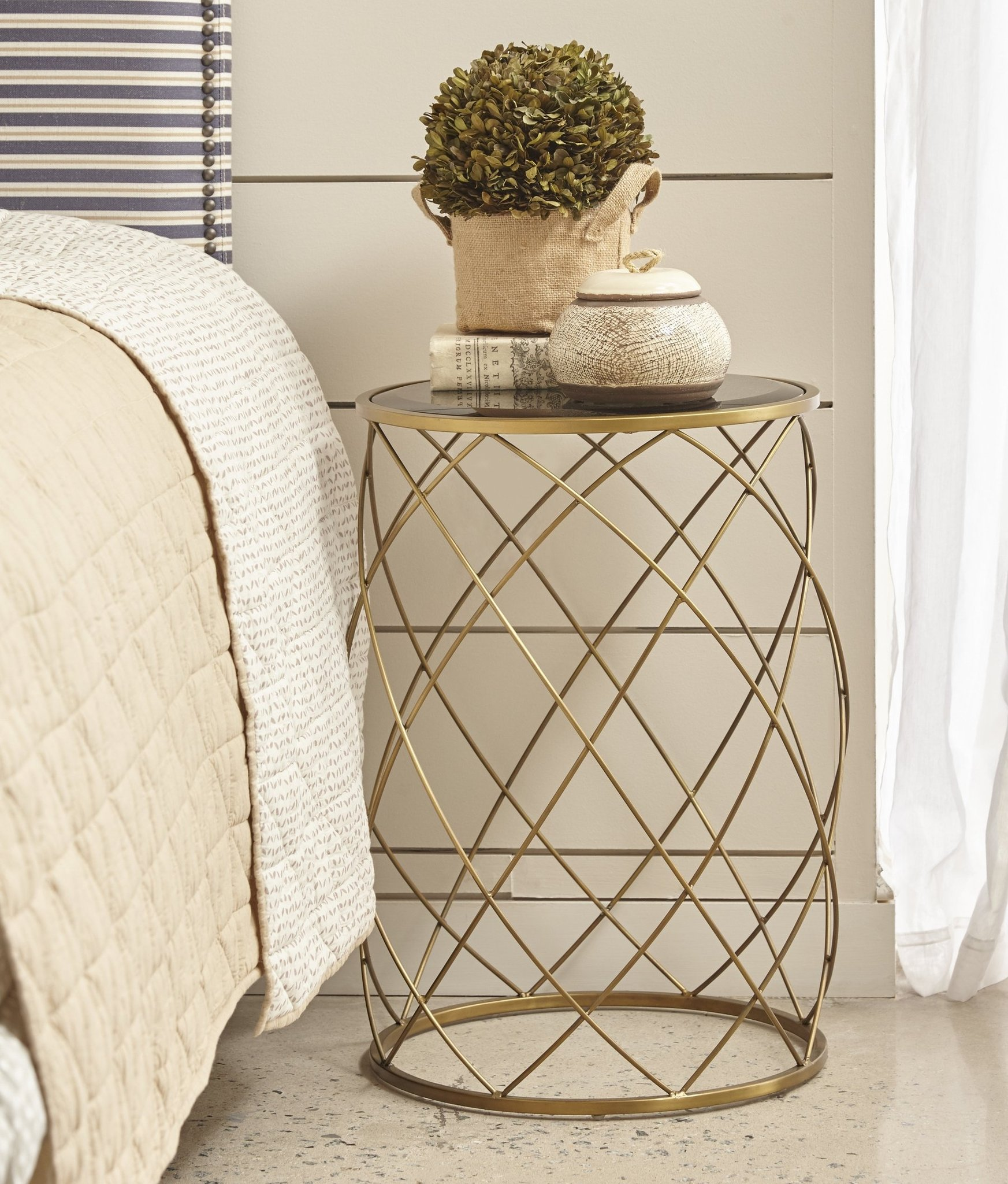 convex round brass metal accent table with smoked glass top side parker gwen ikea bathroom storage tiffany look alike lamps portable grill contemporary end tables hampton bay
