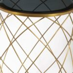 convex round brass metal accent table with smoked glass top side parker gwen west elm arch lamp antique iron beds marble set stacking tables ikea target red patio dining cover 150x150