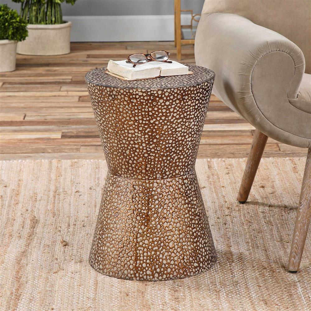 cool table legs probably perfect fun drum shaped end gallery cantu global bazaar copper bronze side kathy kuo home product view full size easy small round marble ashley bar stools