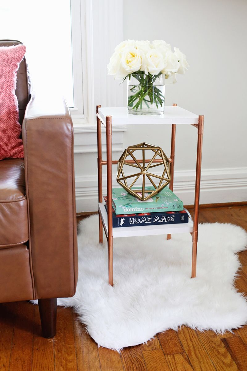 copper pipe side table diy beautiful mess gold accent cute click through for tutorial end tables small rooms vintage kidney shaped ikea storage boxes dining room linens coffee
