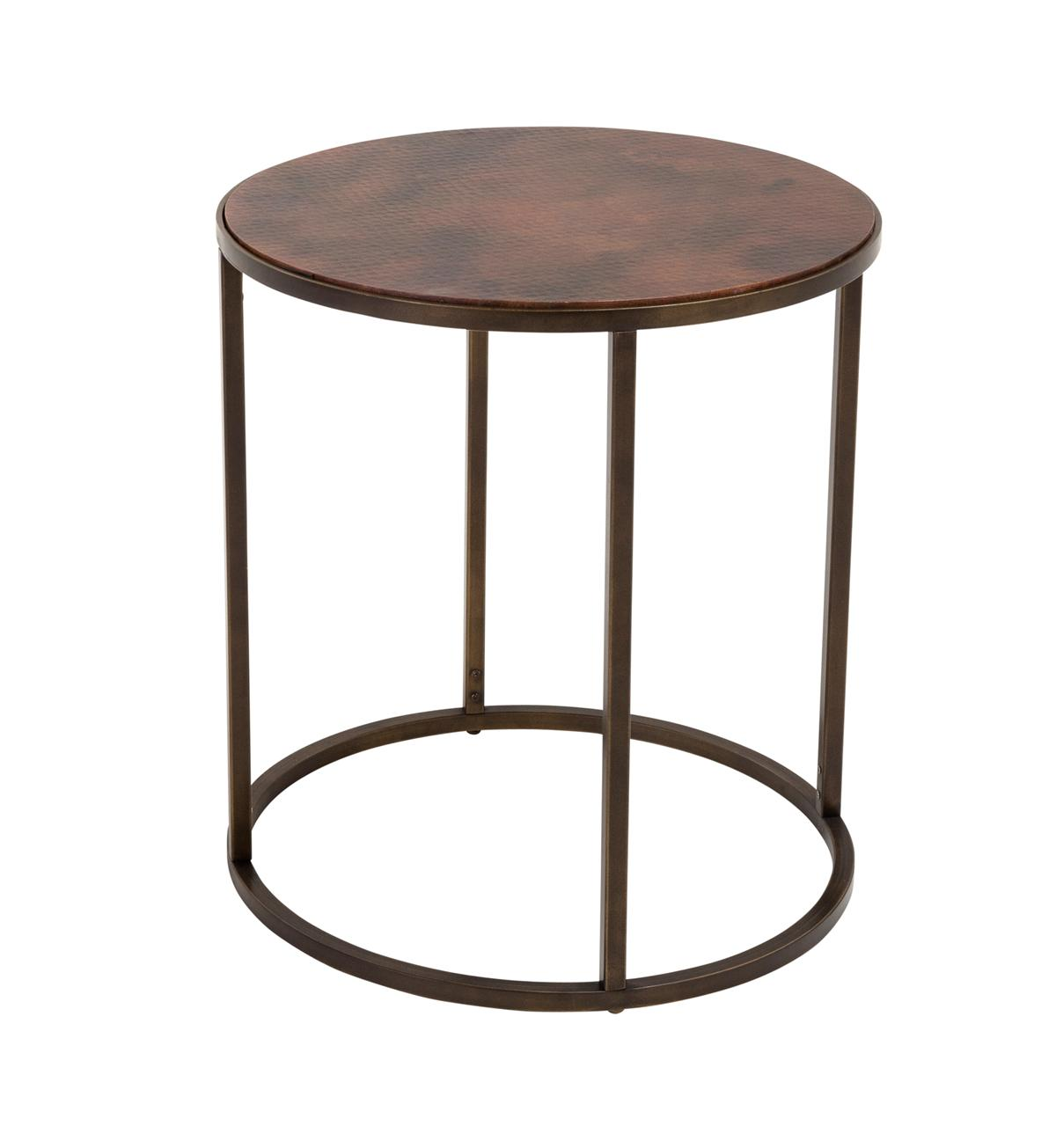 copper top end table furniture narrow accent threshold ethan allen pineapple uttermost samuelle wooden small modern lamp pottery barn with bench glass drawer entry way storage