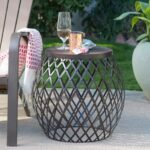 coral coast darby round metal patio side table with unique outdoor accent tables antique dale tiffany lamps conversation sets light oak lamp plastic adirondack gray wood coffee 150x150