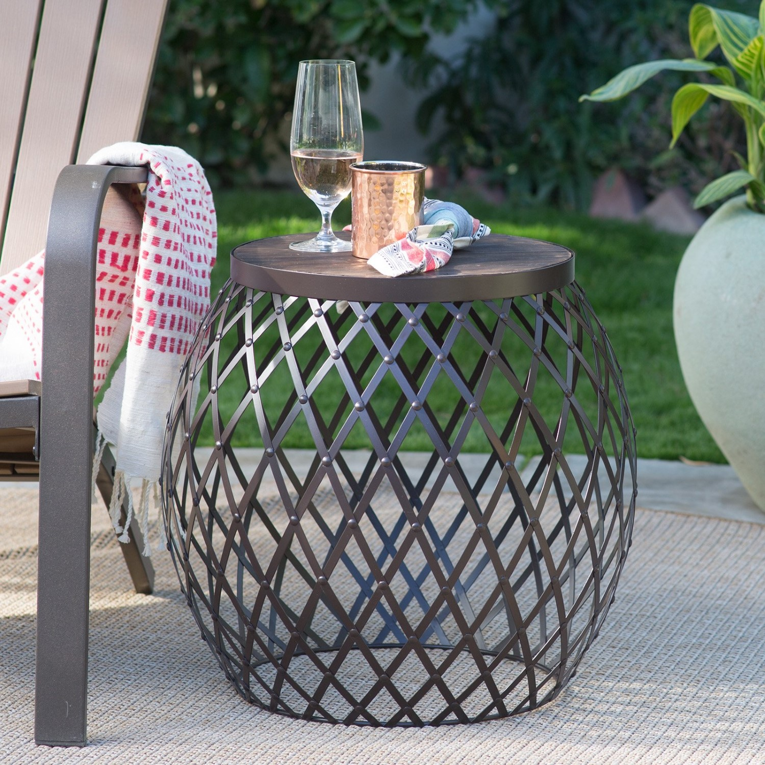 coral coast darby round metal patio side table with unique outdoor accent tables antique dale tiffany lamps conversation sets light oak lamp plastic adirondack gray wood coffee