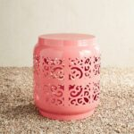 coral metal eyelet accent table pier imports pink outdoor furniture brisbane target storage small desks for spaces victorian occasional bedroom manufacturers giant wall clock 150x150