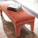 coral velvet upholstered bench with silver nailhead trim living miles redd kidney accent table large metal coffee order legs espresso finish replica furniture eames solid oak 150x150
