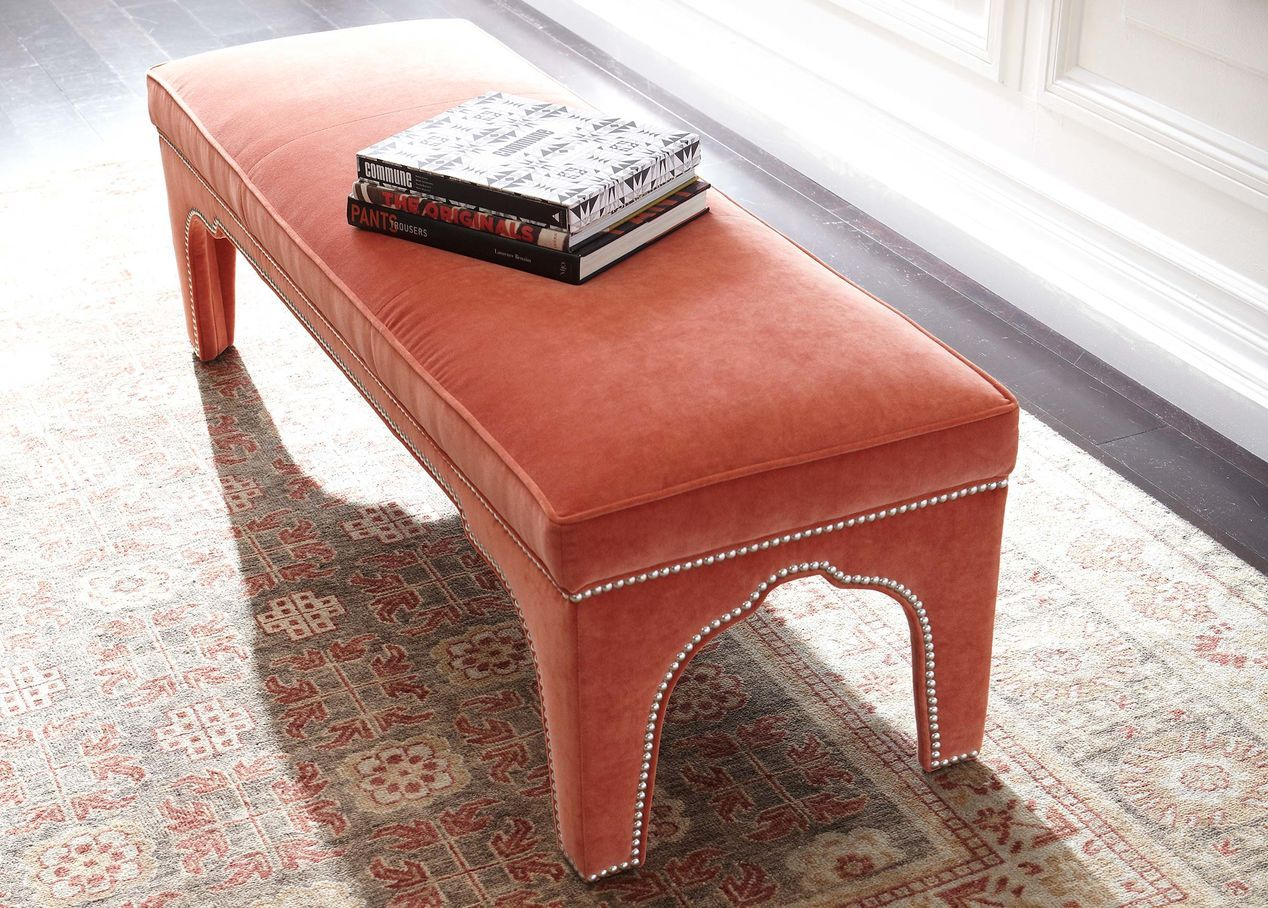 coral velvet upholstered bench with silver nailhead trim living miles redd kidney accent table large metal coffee order legs espresso finish replica furniture eames solid oak