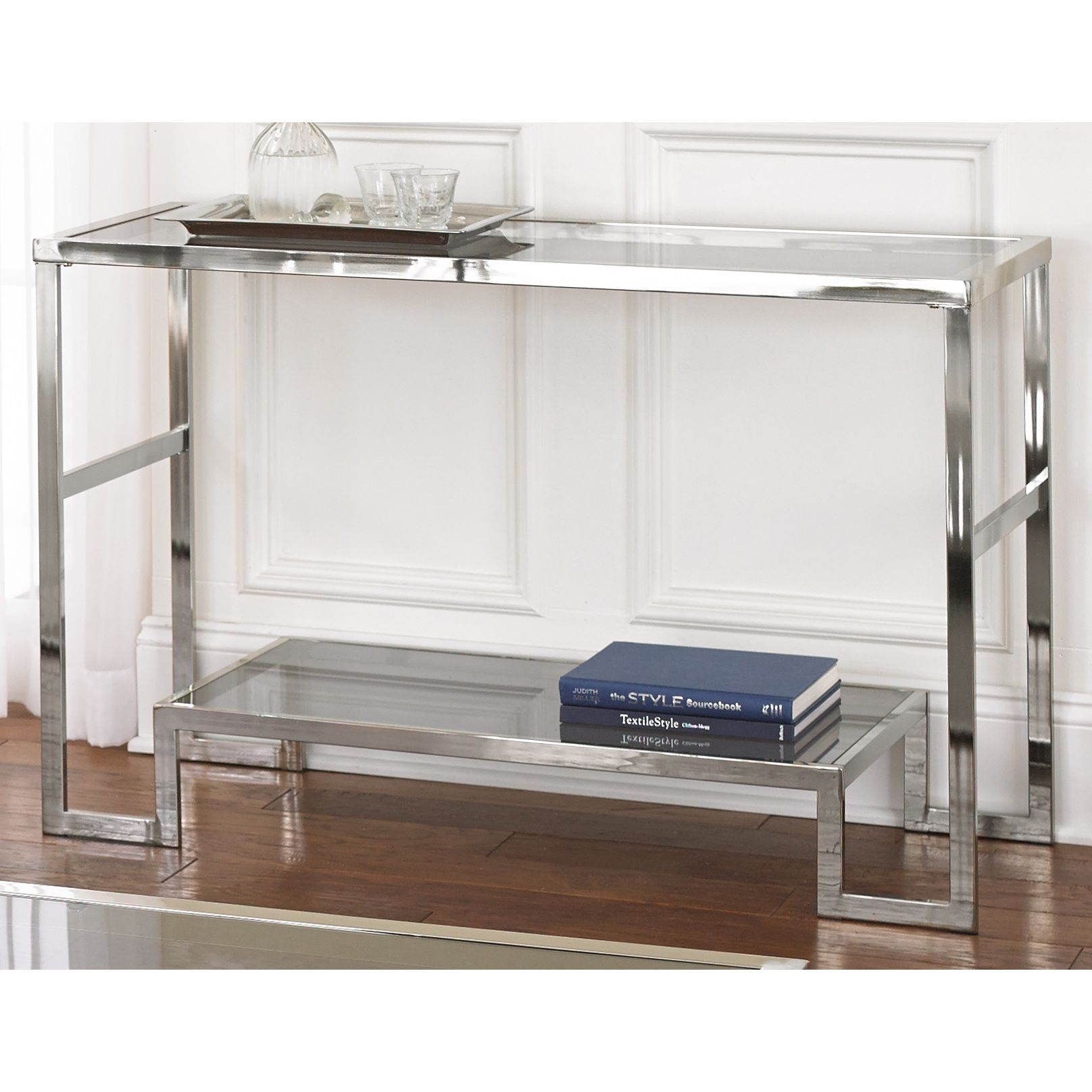 cordele chrome and glass sofa table greyson living metal accent console with shelf coffee end tables for less armchairs room small tiffany style desk lamp white corner uma