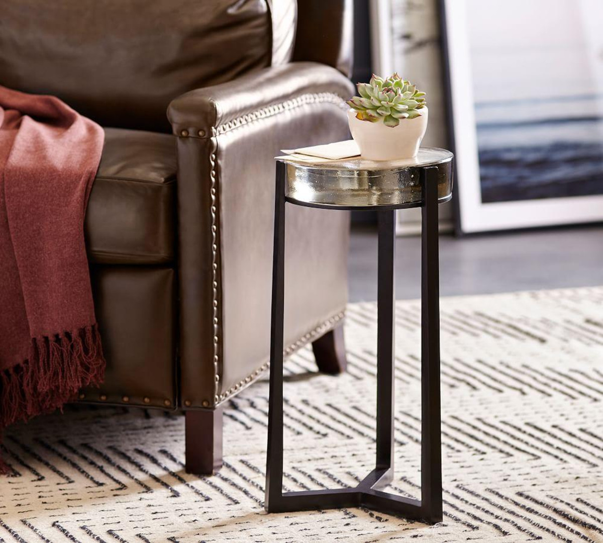 cori glass accent table pottery barn media tables tiered end wedge side shabby chic bedside patio tiles modern metal and coffee oak floor threshold silver hammered high lamps for