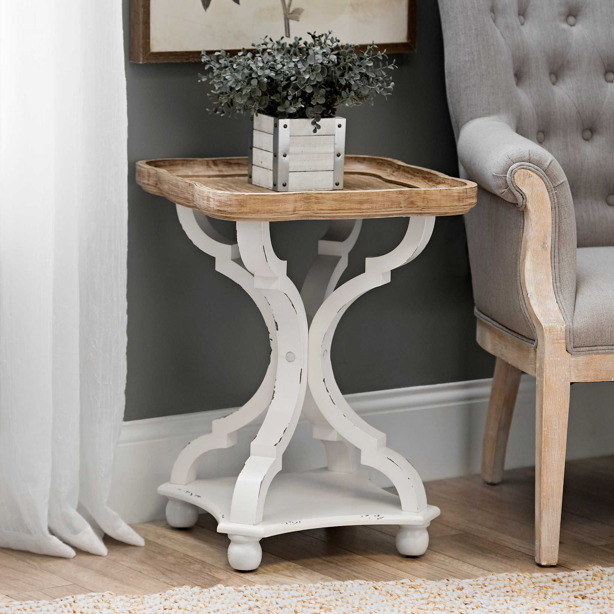 corina scalloped accent table new house room living whitewash kirklands wood glass end tables wedding linens west elm arc lamp folding patio dining home goods furniture chairs
