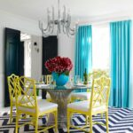 corner dining area gray chairs pineapple monocromatic unique stainless stell chandelier big blue flower vase black door exquisite room with light drapes yellow and snazzy chevron 150x150