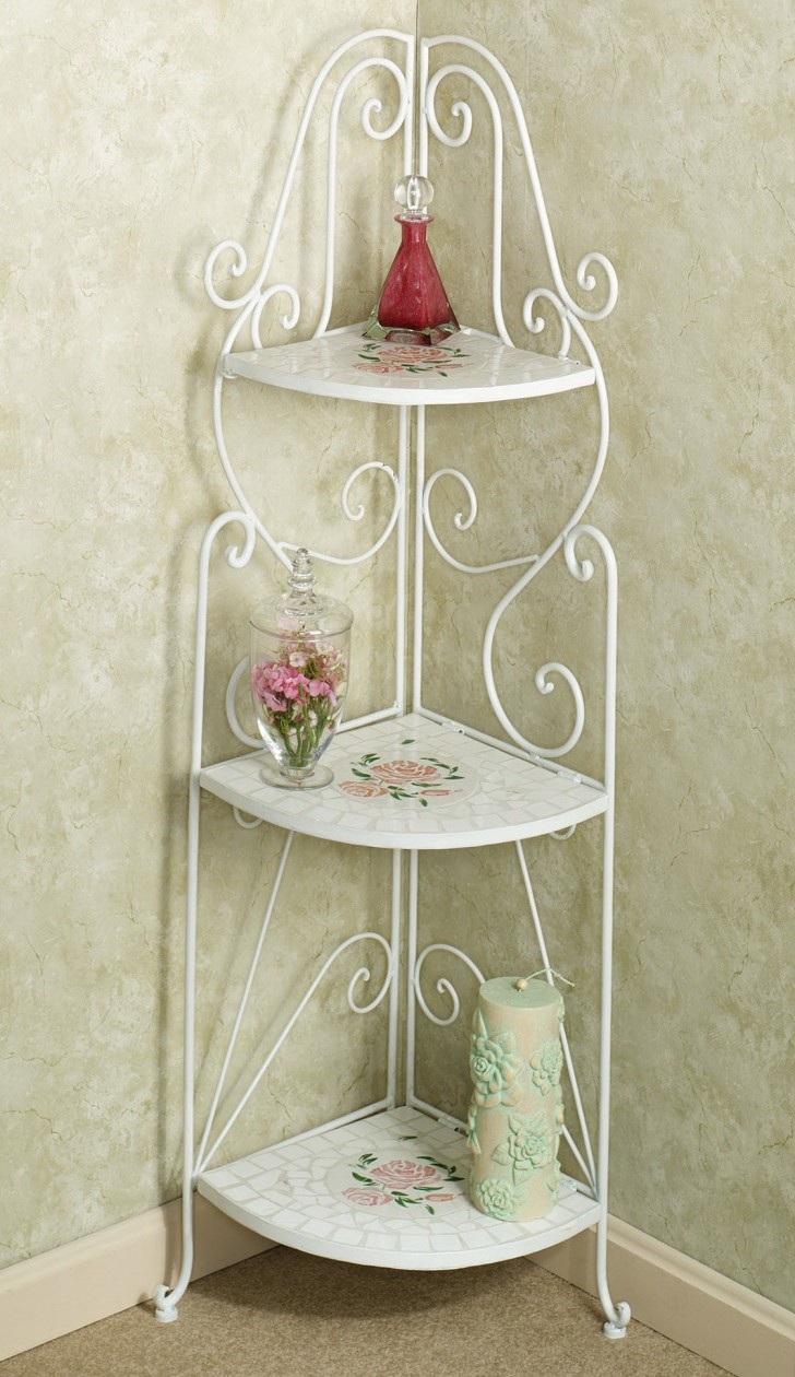 corner table plan alternative comes with white iron frames and floral shelves curves foot glass flower vase abstract wall paper motive candle small accent home furniture alluring
