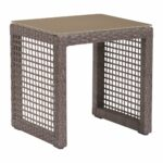 coronado patio end table woven cocoa resin with tempered glass outdoor side tables alan decor tall nightstand coffee marble and granite round cover thin lamps dinette set 150x150