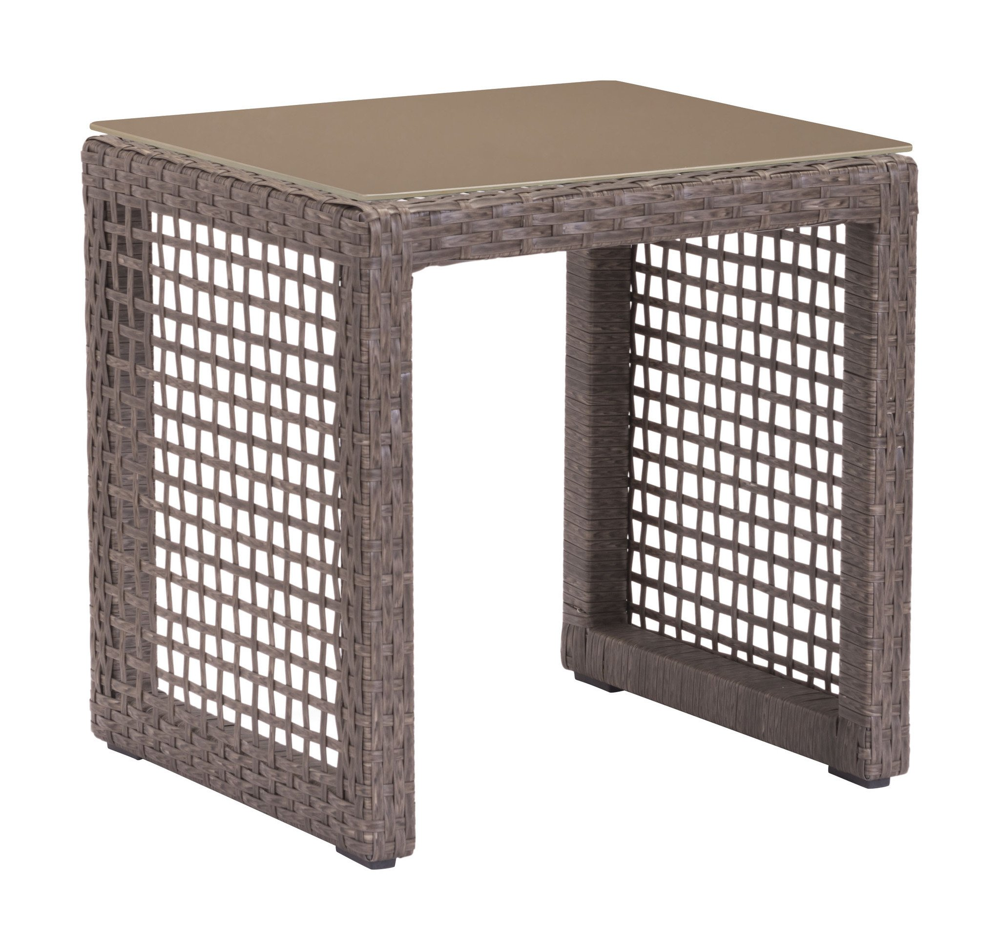 coronado patio end table woven cocoa resin with tempered glass outdoor side tables alan decor tall nightstand coffee marble and granite round cover thin lamps dinette set