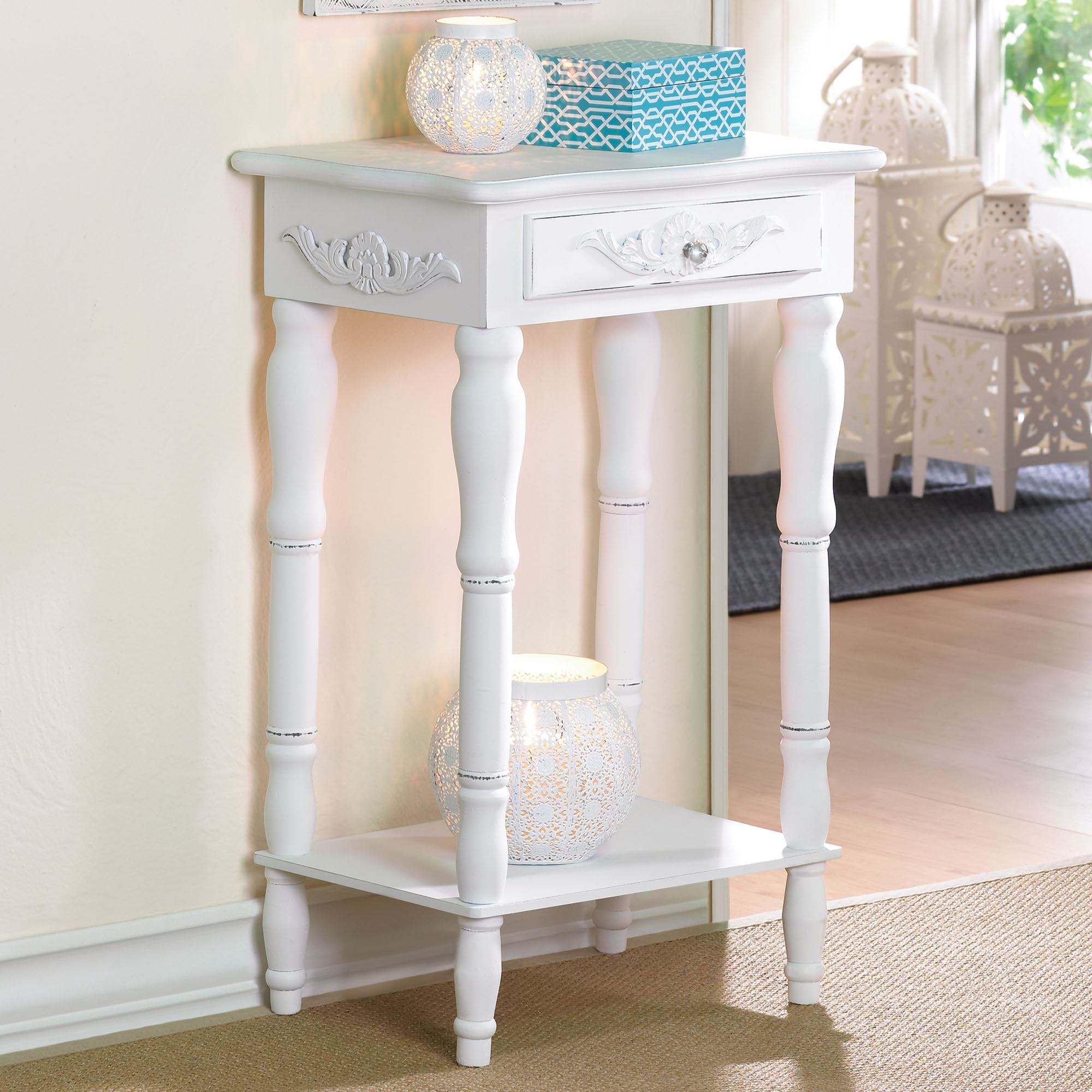 cosenza antique white accent table with drawer round touch zoom trunk bedside large garden umbrellas clear crystal lamp ikea storage unit inches high small bar height decorative