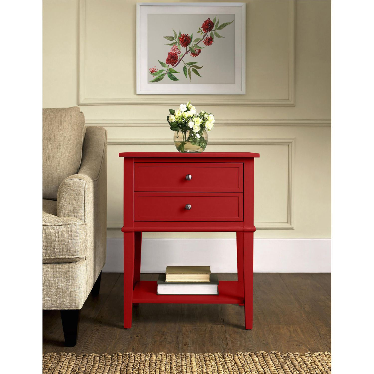 cottage hill red drawer accent table products furniture small drum shaped side next lamps homemade coffee plans kidney top ryobi lamp tables for living room uttermost end nautical