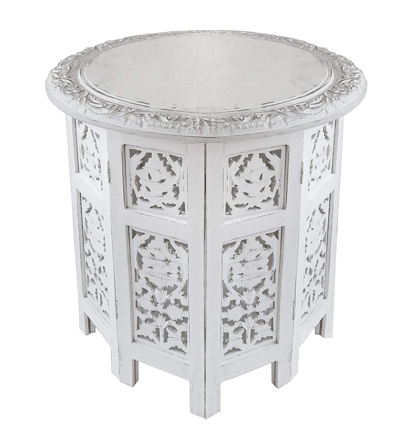 cotton craft jaipur solid wood handcrafted carved round accent end table folding coffee antique white inch top high kitchen cabbage rose tiffany lamp couch set black wrought iron